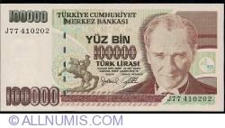Image #1 of 100,000 Lira ND (1997) - signatures Gazi ERÇEL / Aykut EKZEN