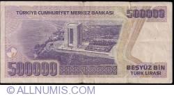 Image #2 of 500 000 Lira L.1970(1998) - signatures Gazi ERÇEL, Aydin ESEN