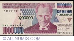 Image #1 of 1,000,000 Lira L.1970 (1995) - signatures Gazi ERÇEL, Prof. Dr. Selçuk ABAÇ