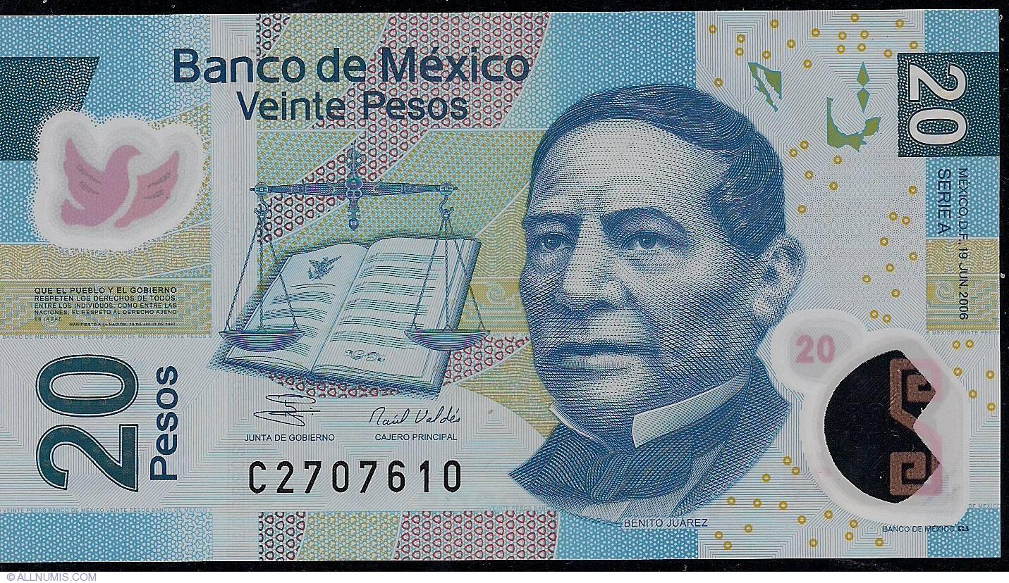 MEXICO  20  PESOS 2006  Serie A   P 122 b  Uncirculated