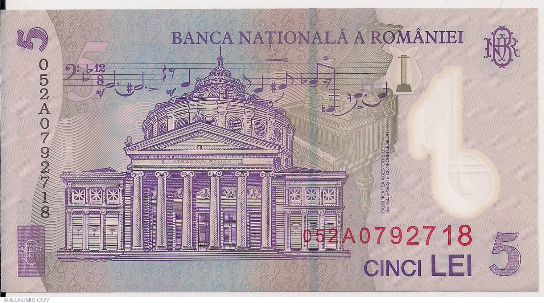 5 Lei UNC /> Composer George Enescu 2008 P-118d 2005 Romania POLYMER