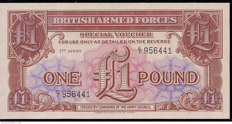 British Armed Forces UNC Note Special Voucher 1 Pound 3rd Series 1956 P-M29