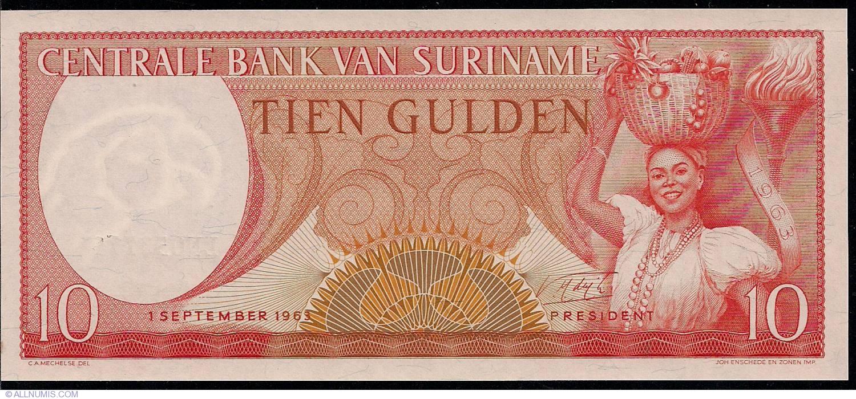 LOT Suriname // Surinam 10 x 5 Gulden UNC 1963 120b P-120