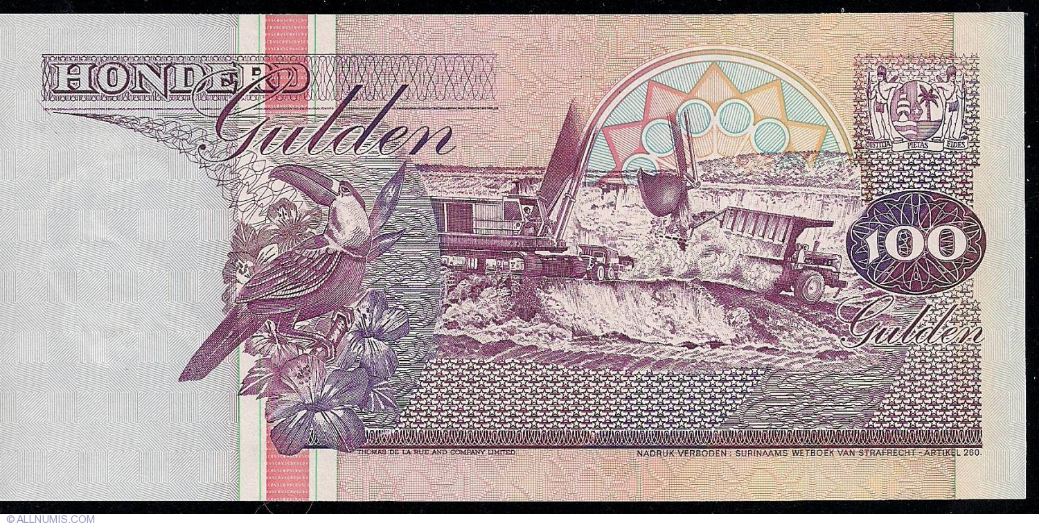 BEAUTIFUL SURINAME UNC Pick-133a.1 100 Gulden 1986 BANKNOTE - WORK OF ART