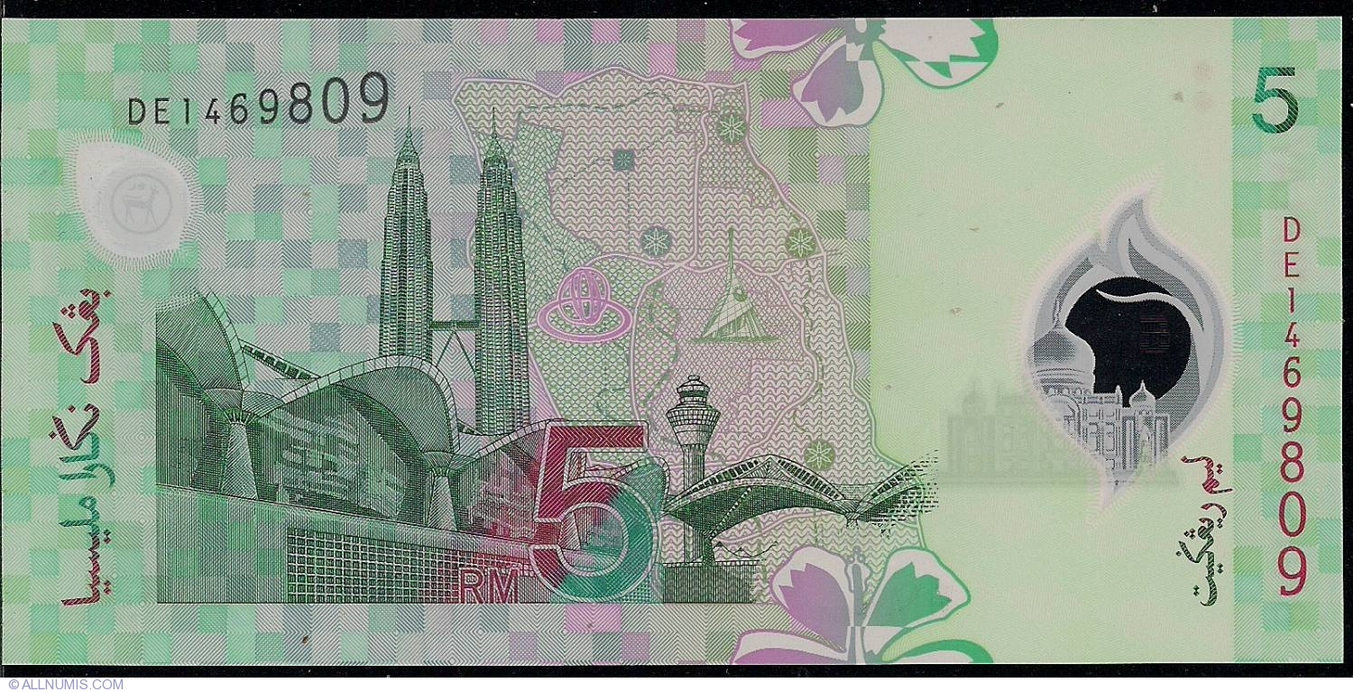Malaysia 5 Ringgit p-47 1 2004 UNC Polymer Banknote