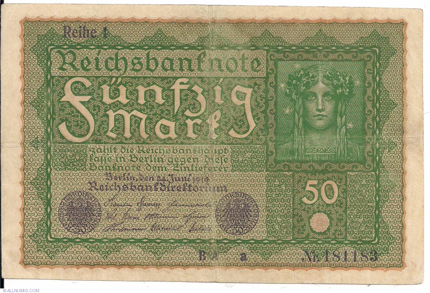 50 Marks Bank Note from Germany Issued 1919