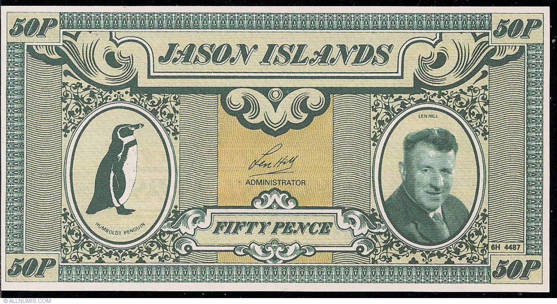 UNC Penguin /& Len Hill 20£ 1979 Banknote Series Jason Islands 50 pence