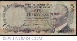 Image #1 of 5 Lira ND (8.I.1968) - signatures Naim TALU / Nevzat ALPTÜRK / Rıza UYGURER