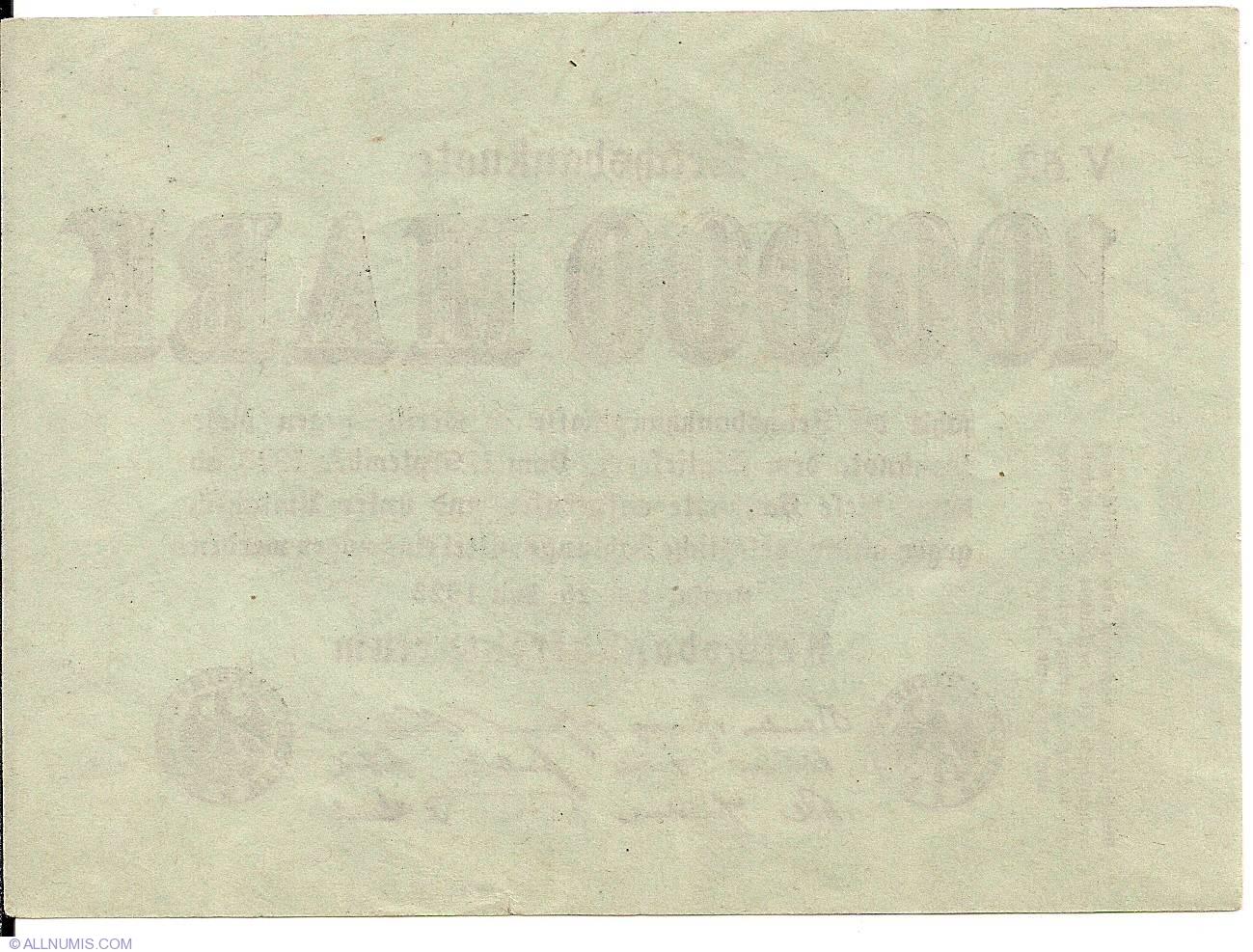 Februar Paper Money y 1923 German Reichsbanknote 100000 Mark D0601 Series