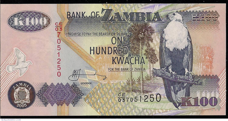 Zambia 100 Kwacha 2005 Banknote Paper Money P38 UNC