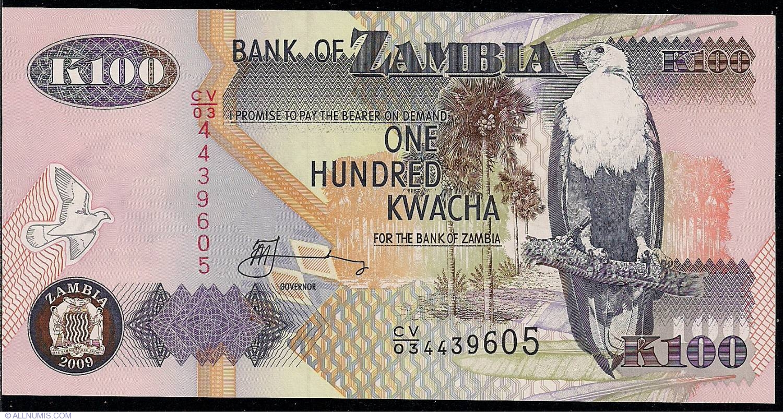 Zambia banknotes 100 KWACHA 2009  UNCIRCULATED P37 ES-5