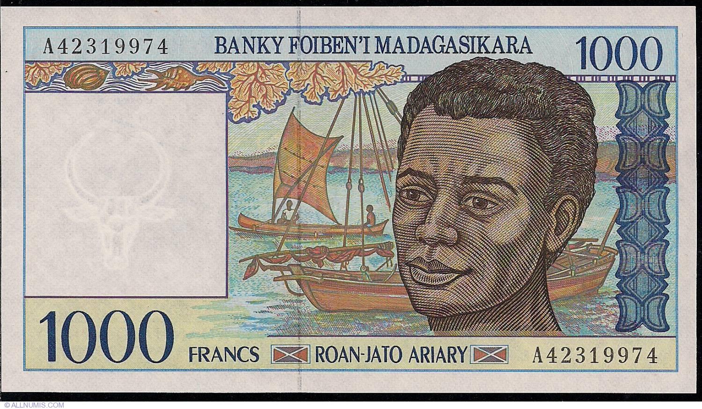 Madagascar 1000 Francs 1994 P-76b Banknotes UNC