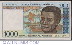 1000 Francs = 200 Ariary ND (1994) - signatures R. Ravelomanana