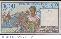 Image #2 of 1000 Francs = 200 Ariary ND (1994) - signatures R. Ravelomanana