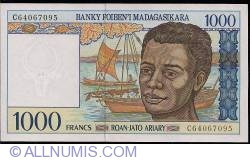 1000 Francs = 200 Ariary ND (1994) - signature Gaston Ravelojaona