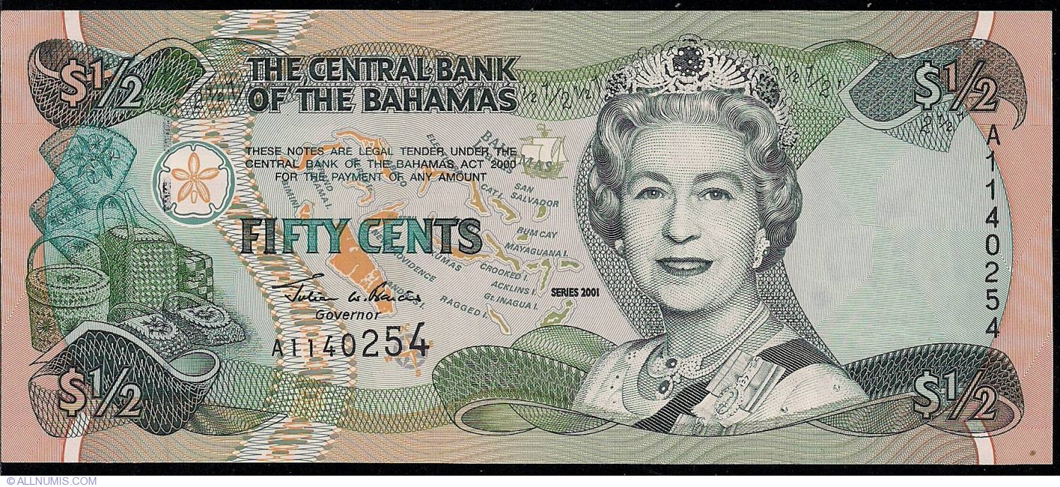 Bahamas 1//2 0.5 Dollar 50 Cents 2001 Lot 5 PCS P-68 UNC/>QEII