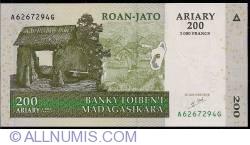 Image #1 of 200 Ariary = 1000 Francs 2004 - signature Gaston Ravelojaona
