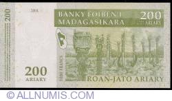 Image #2 of 200 Ariary = 1000 Francs 2004 - signature Gaston Ravelojaona