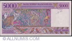 Imaginea #2 a 5000 Franci = 1000 Ariary ND (1995) - semnătură Gaston Ravelojaona