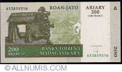 Image #1 of 200 Ariary = 1000 Francs 2004 - signature Frédéric Rasamoely