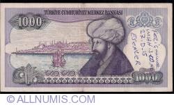 Image #2 of 1,000 Lira ND(1988) - signatures Dr. Rüşdü SARACOGLU/ Bediz DEMİRAY