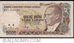 Image #1 of 5000 Lira L.1970 (1990) - signature Dr. Rüşdü SARACOGLU / Ruhi HASESKİ