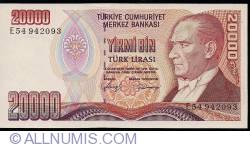 Image #1 of 20,000 Lira ND (1988) - signatures Dr. Rüşdü SARACOGLU / Bediz DEMİRAY