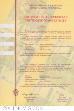 Image #1 of 10,000 Lei 2000 - Uncut sheet of 4 (With certificate of authenticity National Bank of Romania) - signature Mugur Isărescu