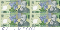 Image #2 of 10,000 Lei 2000 - Uncut sheet of 4 (With certificate of authenticity National Bank of Romania) - signature Mugur Isărescu