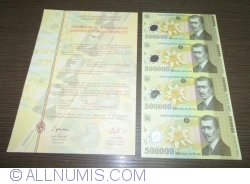 Image #2 of 500,000 Lei 2000 - Uncut sheet of 4 (With certificate of authenticity National Bank of Romania)