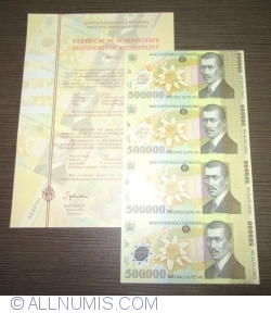 Image #1 of 500,000 Lei 2000 - Uncut sheet of 4 (With certificate of authenticity National Bank of Romania)