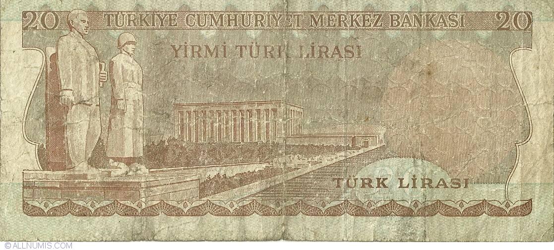 TURKEY 20 LIRA 1970 P 187b UNC