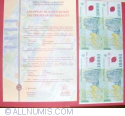 Image #1 of 10,000 Lei 2000 - Uncut sheet of 4 (With certificate of authenticity National Bank of Romania) - signature Emil Ghizari