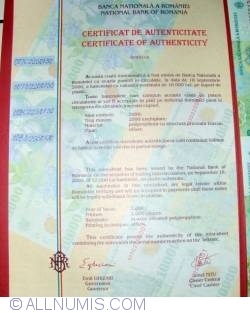 Image #2 of 10,000 Lei 2000 - Uncut sheet of 4 (With certificate of authenticity National Bank of Romania) - signature Emil Ghizari