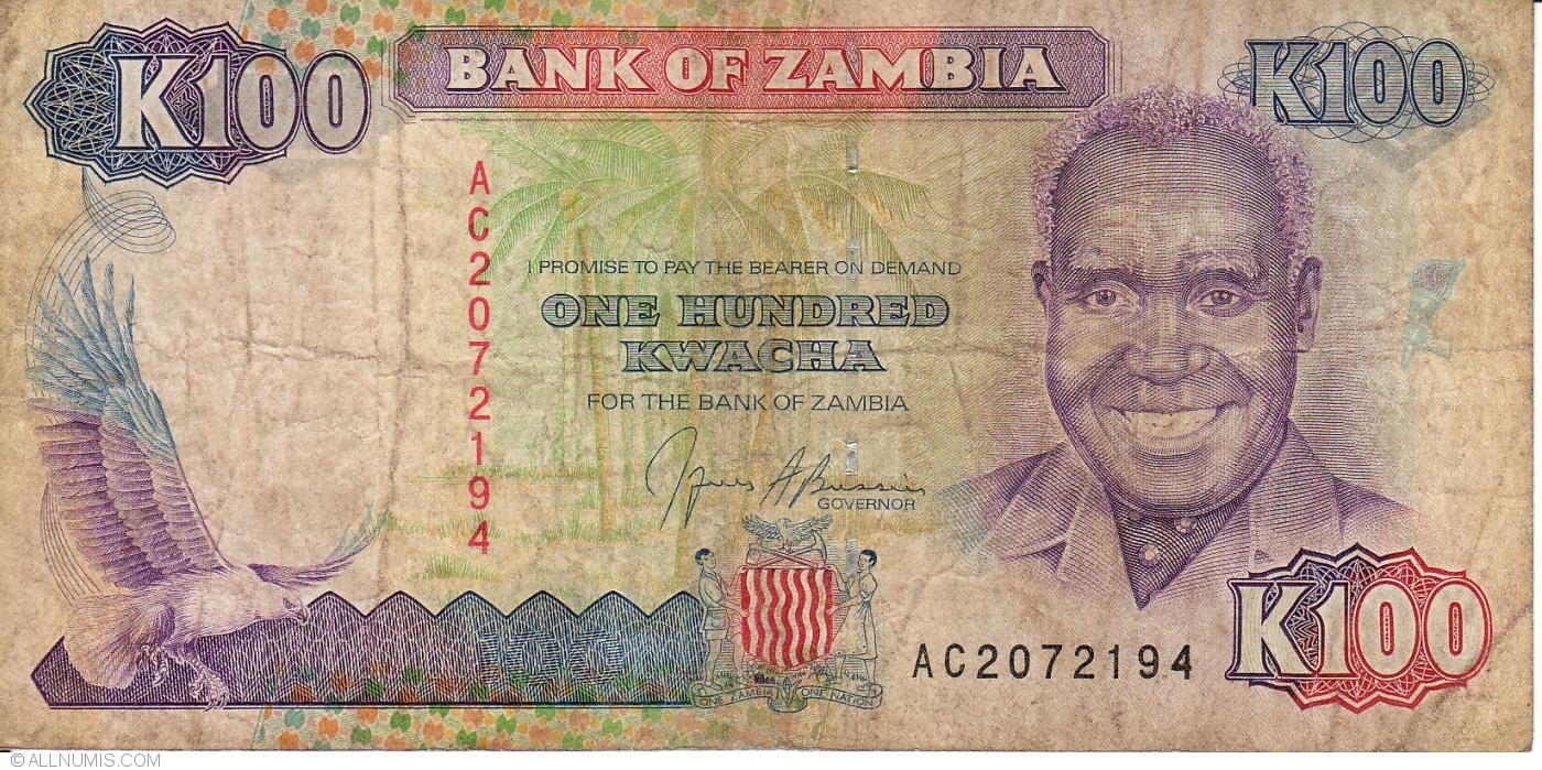 Zambia P-34 100 Kwacha Year ND 1991 Uncirculated Banknote