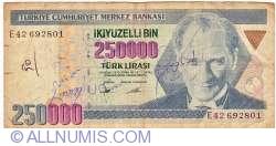 Image #1 of 250,000 Lira ND (1995) - signatures Ş. Yaman TÖRÜNER, Osman Cavit ERTAN