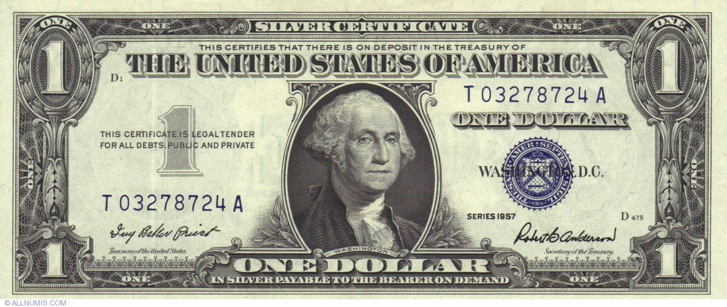 1 dollar 1957 1957 issue silver certificates united states of 1 dollar 1957 xflitez Images