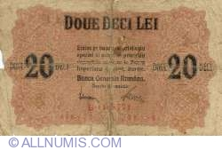 20 Lei ND (1917) - handstamp on the reverse
