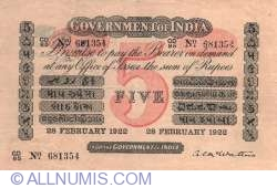 5 Rupees 1922 (28th. of February)