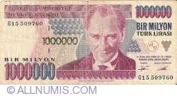Image #1 of 1,000,000 Lira ND (1995) sign Ş. Yaman TÖRÜNER, Osman Cavit ERTAN