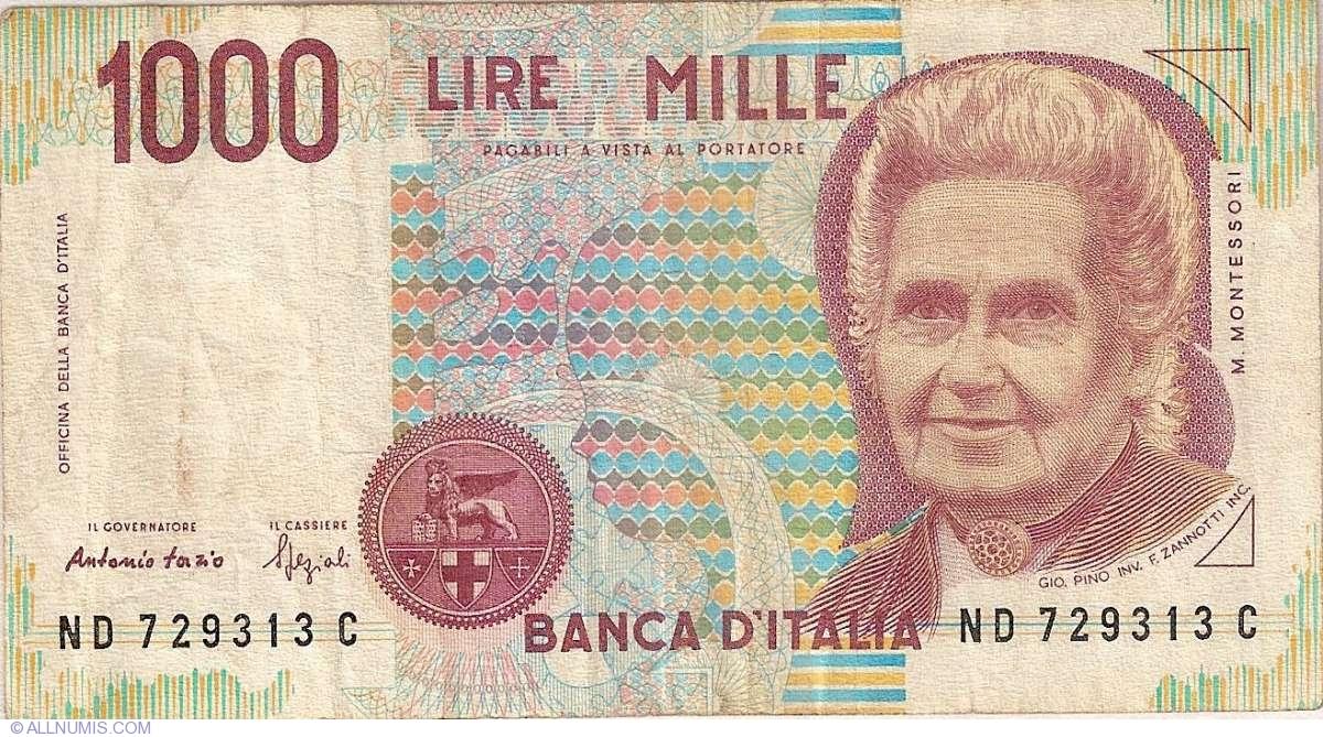 1000 Lire 1990 1990 Issue Bank Of Italy Banca Ditalia Decreto