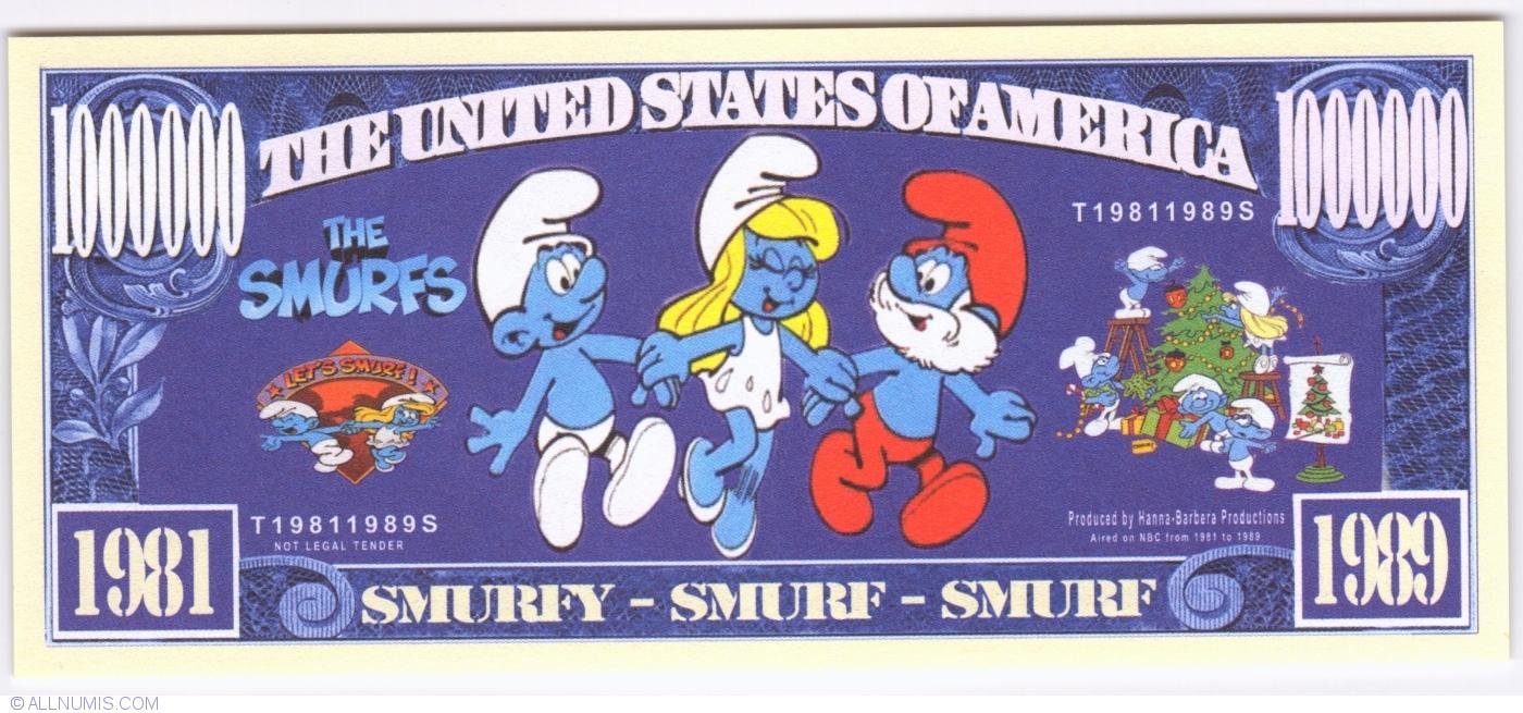 1,000,000 Papa Smurf Dollars - The Smurfs, USA - Cartoons - Fantasy ...
