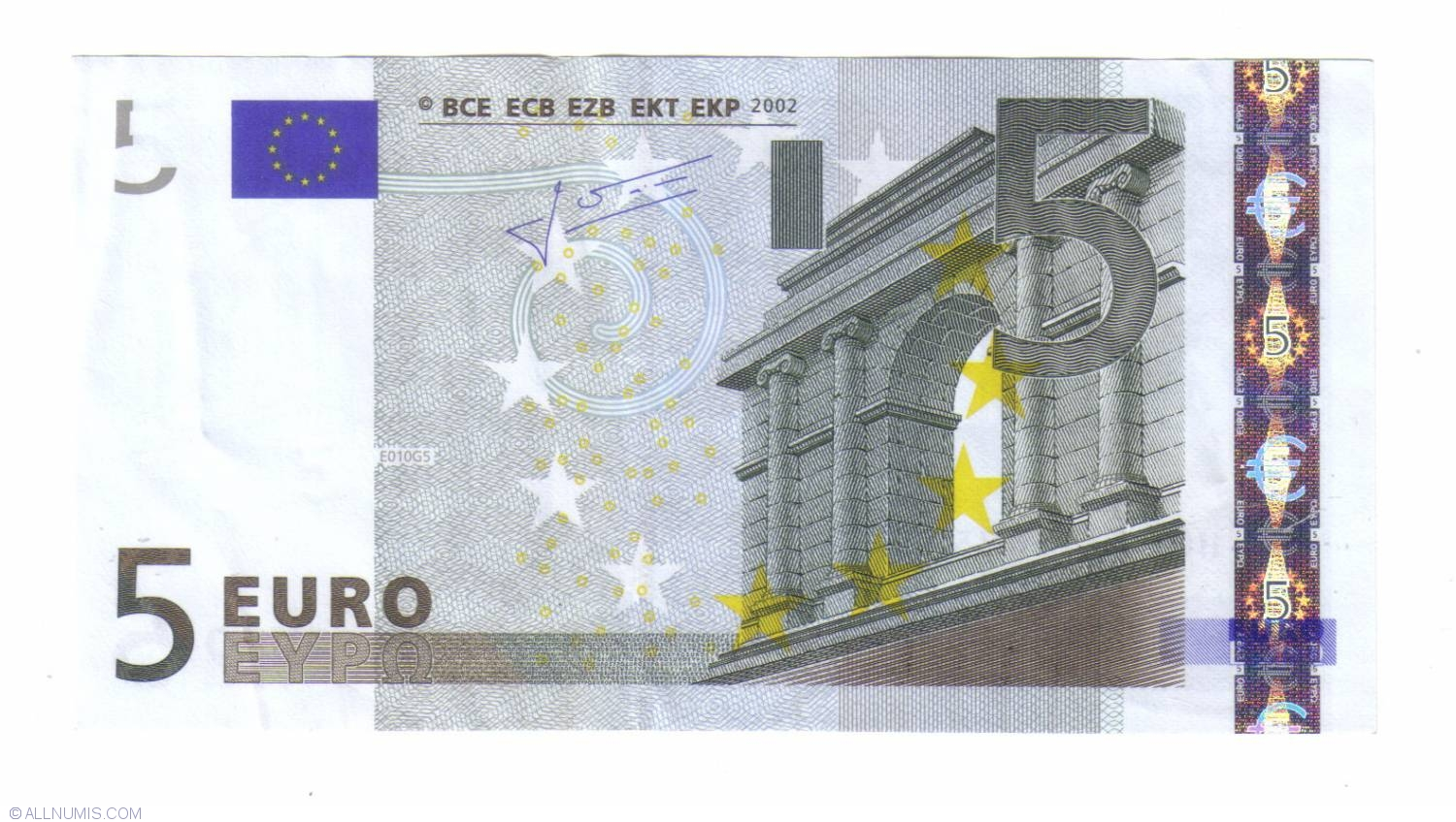 5 euro 2002 h slovenia 2002 issue 5 euro signature jean claude trichet european union. Black Bedroom Furniture Sets. Home Design Ideas