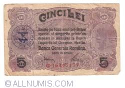 5 Lei ND (1917) - With Handstamp (JUD. ARGEŞU, PERCEPTOR, CIRC. 10)