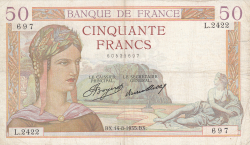 Image #1 of 50 Francs 1935 (14. VIII.)