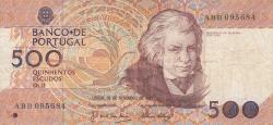 Image #1 of 500 Escudos 1987 (20. XI.) - signatures José Alberto Tavares Moreira / António Carlos Feio Palmeiro Ribeiro