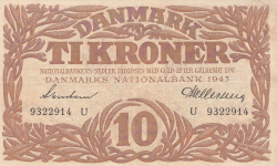 Imaginea #1 a 10 Coroane 1943 - Serie U (semnături Svendsen / Hellerung)