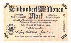 Imaginea #1 a 100 Millionen (100 000 000) Mark 1923 (26. IX.) - 2