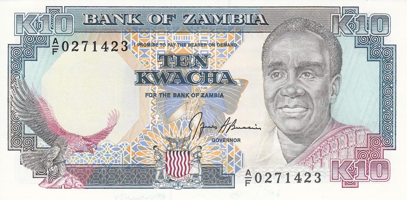 P-31 31b ND Sign Zambia 1989-1991 10 Kwacha 9 UNC