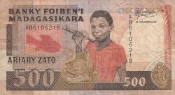 Imaginea #1 a 500 Francs = 100 Ariary ND (1988-1993)